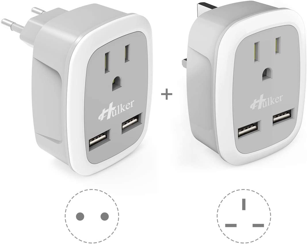 [2 PACK]Travel Plug Adapter, Hulker European Travel Plug Adapter US to Europe or UK, Power Adapter with 2 USB,to EU Spain Italy France Germany Iceland 3 in 1 Outlet AdaptorUS to GB,Ireland,Singapore