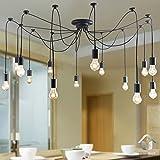 Perfectshow Vintage Edison Multiple Ajustable DIY Pendant Spider Lights Home Ceiling Light Fixtures Metal Chandeliers Lighting (Black 14-light)