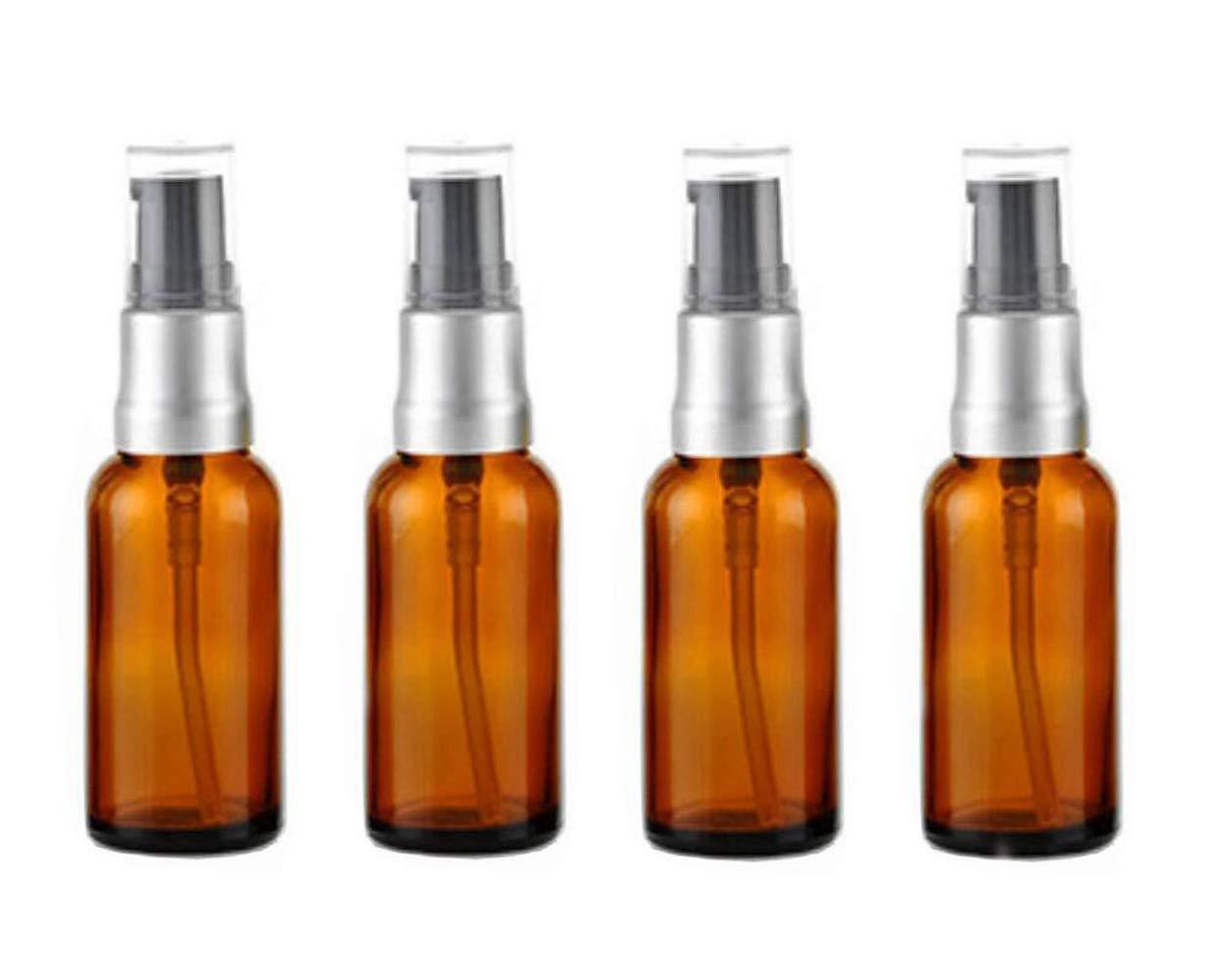 4 botellas de cristal vacías de 15 ml para botellas de loción, cristal ámbar, botes de maquillaje, limpiadores faciales, tóner líquido, contenedores de viaje, dispensador de aceite esencial de emulsión Ericotry