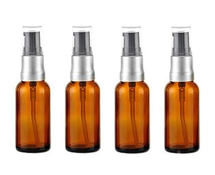 4 botellas de cristal vacías de 15 ml para botellas de loción, cristal ámbar,