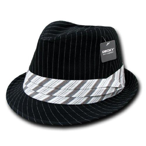 DECKY Inc Stylish Pinstripe Fedora Hats 556 Black White L/XL Black Pinstripe Fedora