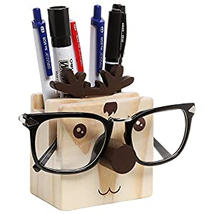 Aimeio Multifunction Eye Glasses Cat Holder Cat Pen Holder Wooden Cat Desktop Organizer Home Ornaments,Elk