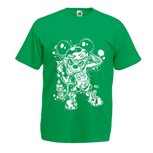 lepni.me Men's T-Shirt A Mouse with an Amazing Halloween Party Costume (Medium Green Multi -