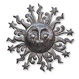 Metal Sun Sculpture with stars, indoor and outdoor garden decor, Haitian Steel Drum Art, 23″x 23″ Review