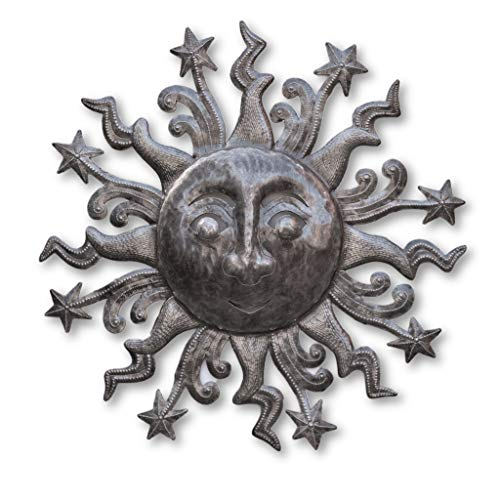 Metal Sun Sculpture with Stars, Indoor and Outdoor Garden Decor, Haitian Steel Drum Art, 23 x 23 Inches