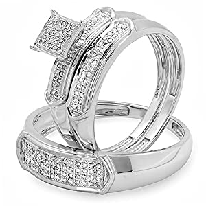 0.30 Carat (ctw) White Diamond Men & Women's Micro Pave Engagement Ring Trio Bridal Set 1/3 CT