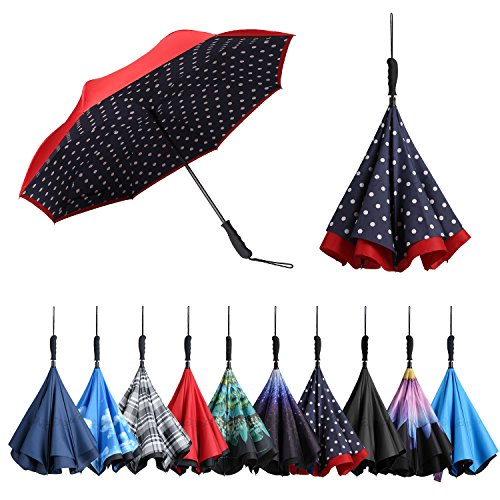 BAGAIL Double Layer Inverted Umbrellas Reverse Folding Umbrella Windproof UV Protection Big Straight Umbrella for Car Rain Outdoor with Straight Handle (Blue Dots Straight Handle)