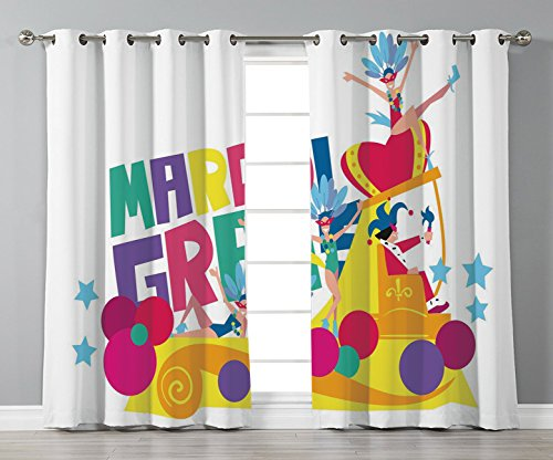(Satin Grommet Window Curtains,Mardi Gras,Festival Parade Theme Dancers in Costumes Colorful Dots Stars Abstract Design Decorative,Multicolor,2 Panel Set Window Drapes,for Living Room Bedroom Kitchen)