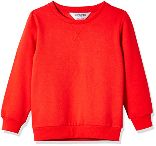 Kid Nation Kids' Slouchy Soft Brushed Fleece Casual Basic Crewneck Sweatshirt for Boys or Girls M Tomato Red