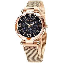 Jechin Fashion Women's Starry Sky Watch Rose Gold Magnetic Buckle Bracelet Dress Watches