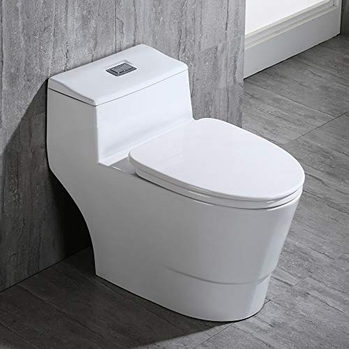 WOODBRIDGE T-0018/B-0735 Dual Flush Elongated One Piece Toilet with Soft Closing Seat, Comfort Height, White T-0018/B0735, Modern
