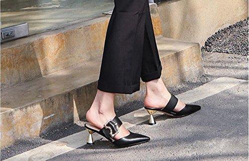 Zapatillas Metal con Exterior DANDANJIE caseros Alto Zapatos Rhinestone de Verano Zapatos Ojos tacón de Negro Sandalias de Punta de Mujer para Hebilla Hebilla los Chanclas de HH78q1w