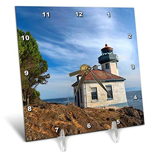 3dRose Danita Delimont - Washington - USA, Washington State, San Juan Island, Lime Kiln Point Lighthouse. - 6x6 Desk Clock (dc_315158_1)