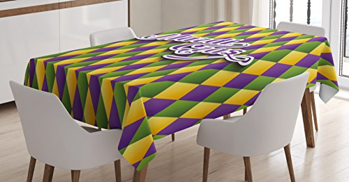 Diamond Mardi Gras Colors (Mardi Gras Tablecloth by Ambesonne, Hand Writing Calligraphy Design on Diamond Line Pattern Iconic Colors, Dining Room Kitchen Rectangular Table Cover, 60 W X 90 L Inches, Purple Green Yellow)
