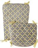 Baby Doll Bedding Lattice Minky Rocking Chair Pad, Grey/Yellow