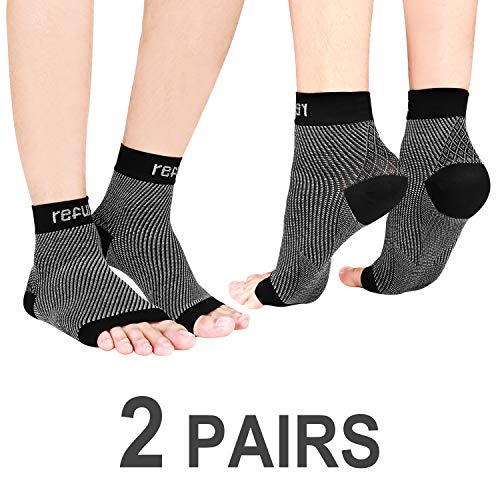 REFUN Plantar Fasciitis Socks for Plantar Fasciitis Pain Relief, Best Compression Foot Sleeves with Heel Arch & Ankle Support, Great Foot Care Compression Sleeve for Men & Women (2 Pairs)