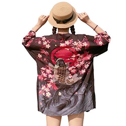(ボラ-キキ) Bole-kk ロングカーデガン 羽織 カーディガン シフォン レディース 7分袖 冷房対策 UVカットビーチウェア オーバーウェア 花柄 着物 黒
