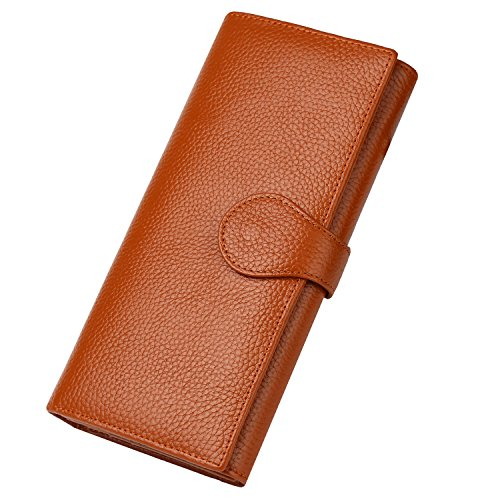 Dante Women RFID Blocking Real Leather Trifold Wallet - Clutch Checkbook Wallet for Women - Shield Against Identity Theft(Brown)