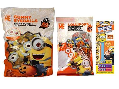 Despicable Me Candy - Halloween Candy Individually Wrapped includes Gummy Eyeballs, Minion Lollipops, and Mini Candy Dispenser