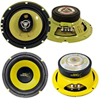 2) PYLE PLG6.3 6.5 280W 3 Way Coaxial+ 2) 6.5 600W Subwoofer Sub Speakers