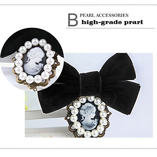 80HOU Women Cameo Pearl Brooch Velvet Bow Coat Jacket Sweater Lapel Collar Pin-Black by 80HOU (Image #2)