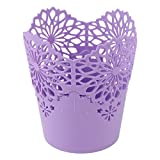 uxcell® Plastic Desktop Wastepaper Storage Basket Rubbish Bin Trash Purple 13cm x 14.5cm
