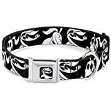 Dog Collar Seatbelt Buckle Nightmare Before Christmas Zero Expressions Black White 15 to 26 Inches 1.0 Inch Wide