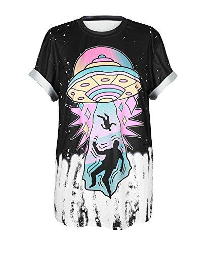 Honeystore Unisex Punk Casual Couple Top Print Novelty Halloween Costume T-Shirt UFO -