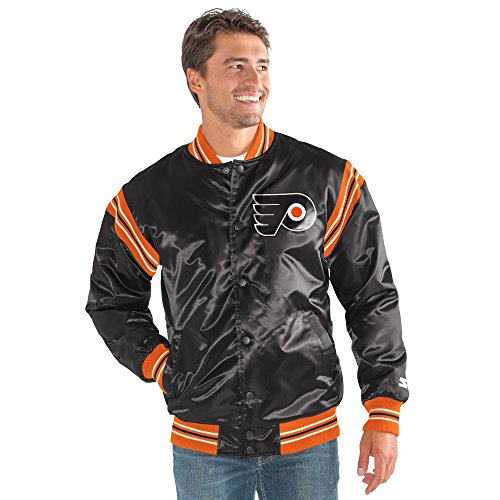 - STARTER NHL Philadelphia Flyers Men's The Enforcer Retro Satin Jacket, 4X, Black