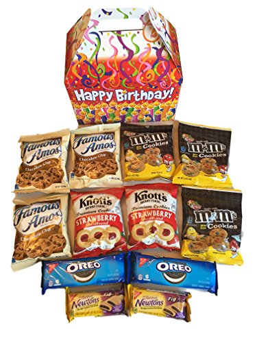 Happy Birthday Cookies Care Package features fun birthday candles graphic Gift Box stuffed with cookies, the perfect gift for your college student, military, or co-worker (Happy Birthday Packages)