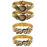 Efulgenz Fashion Jewelry Indian Bollywood 14 K Gold Plated Faux Pearl Kundan Rhinestone Peacock Bracelet Bangle (2 Pc) (Style 3)