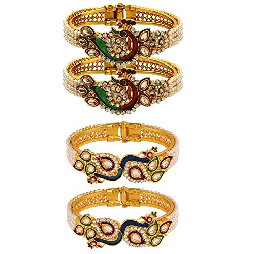 Efulgenz Fashion Jewelry Indian Bollywood 14 K Gold Plated Faux Pearl Kundan Rhinestone Peacock Bracelet Bangle (2 Pc) (Style 3)