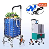 LUCKUP Folding Shopping Cart Utility Transit Stair Climbing Cart Rolling Grocery Carts with Swivel Wheel,Water Proof Bag,Padded Handle,Aluminum Frame Convenient Storage,Silver