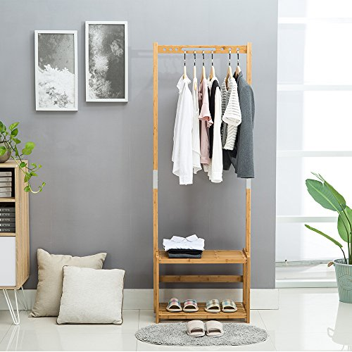 Nnewvante Coat Stand Bamboo Coat Rack Bench Hall Tree Entryway 2 Tier Shelf Organizer, 29.5x13.8x70in, Natural Bamboo (Storage Entranceway)