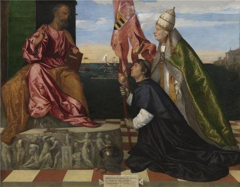 ['Titian,Jacopo Pesaro Being Presented By Pope Alexander VI To Saint Peter,ca.1503-1506' Oil Painting, 18x23 Inch / 46x59 Cm ,printed On High Quality Polyster Canvas ,this High Quality Art Decorative Canvas Prints Is Perfectly Suitalbe For Home Office Decor And Home Decor And] (Im The Pope Costume)
