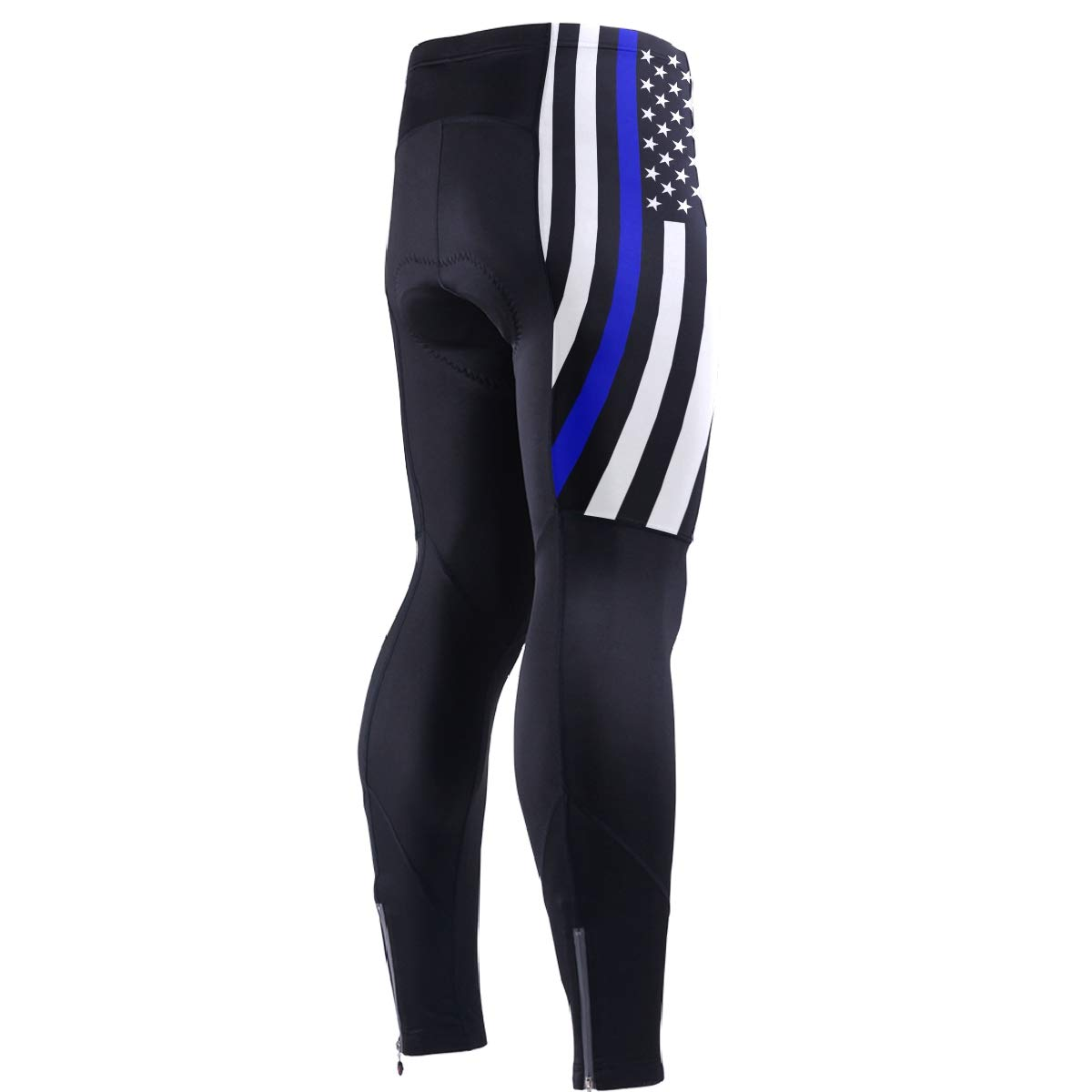 CHINEIN Men's Cycling Jersey Long Sleeve with 3 Rear Pockets Pants Police Thin Blue Line American Flag by CHINEIN