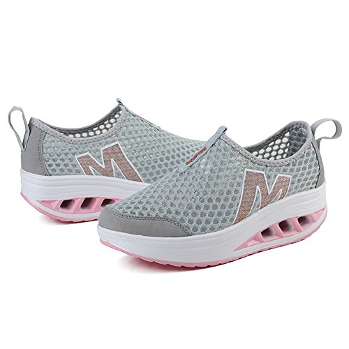 CYBLING Women Breathable Lightweight Platform Wedge Fashion Trainers Sports Athletic Casual Shoes Pink fR9tZ