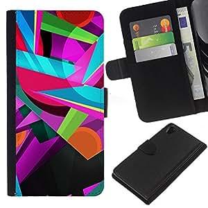 KLONGSHOP // Tirón de la caja Cartera de cuero con ranuras para tarjetas - Colores colorido del trullo rosado Formas - Sony Xperia Z2 D6502 //