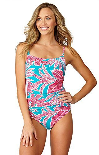 Leilani Women's Made In The Shade Palms Tank One Piece Swimsuit-6-L16_Teal