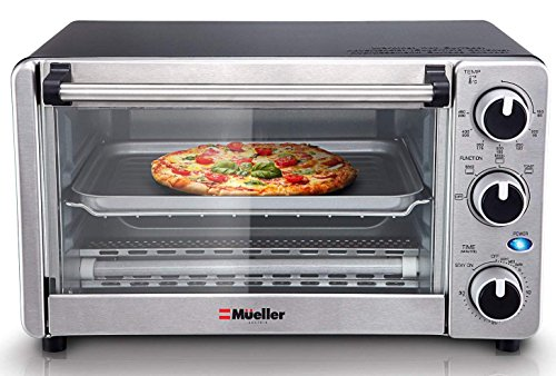 Toaster Oven 4 Slice, Multi-function Stainless Steel with Timer – Toast – Bake – Broil Settings, Natural Convection – 1100 Watts of Power, Includes Baking Pan and Rack by Mueller Austria