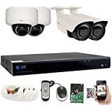 GW Security 8CH Plug & Play 5MP DVR 1920p CCTV Security System, (2) Bullet & (2) Dome 5-Megapixel (2592TVL) Weatherproof 2.8~12mm Varifocal Home Surveillance Camera System 2TB HDD, QR-Code Easy Setup