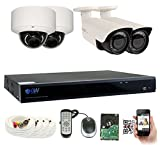 GW Security 8CH Plug & Play 5MP DVR 1920p CCTV Security System, (2) Bullet & (2) Dome 5-Megapixel (2592TVL) Weatherproof 2.8~12mm Varifocal Home Surveillance Camera System 2TB HDD, QR-Code Easy Setup For Sale