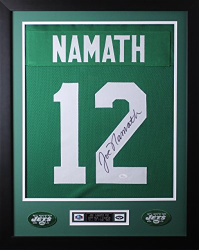 Joe Namath Autographed Green Jets Jersey - Beautifully Matted and Framed - Hand Signed By Joe Namath and Certified Authentic by JSA COA - Includes Certificate of Authenticity ()