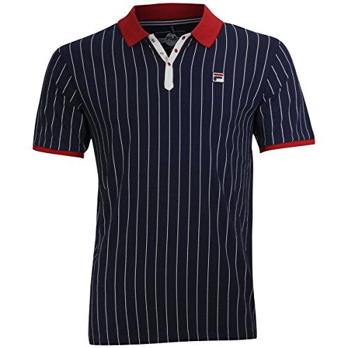- Fila Men's BB1 Polo Shirt, Peacoat Blue, Chinese Red, White, M