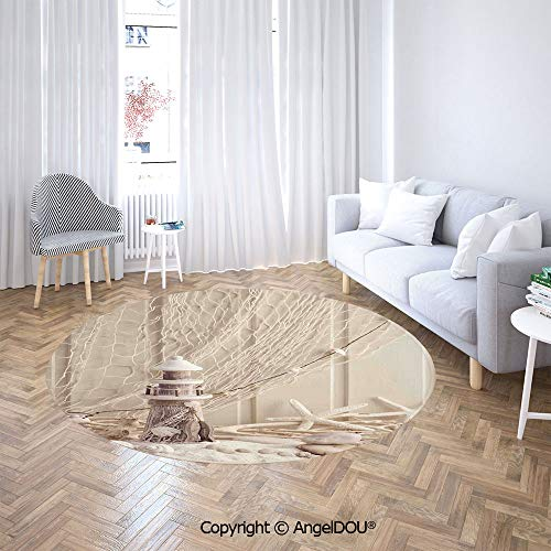 AngelDOU Soft Durable Round Children Carpet Play Mat Marine Theme Sea Stars and Shells Underwater Life Wooden Lighthouse Baby Crawling Blanket Area Rug.