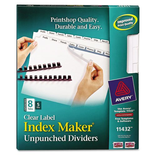 Avery Index Maker Clear Label Unpunched Divider, 8-Tab, Letter, White, 5 Sets