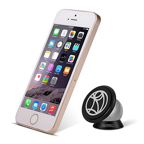 [Best Phone Holder] MEMTEQ Magnetic Cell Phone Mount Holder, for All Cell Phones Apple and Android, All Flat Slick Surface, Wall, Glass, Car Dashboard Windshield, 360° Rotation, Compact and Strong