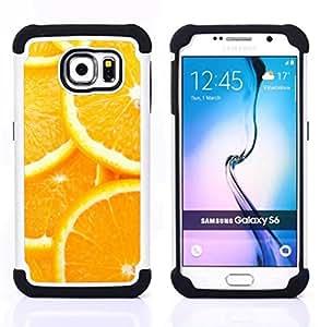 """Samsung Galaxy S6 / SM-G920 - 3 en 1 impreso colorido de Altas Prestaciones PC Funda chaqueta Negro cubierta gel silicona suave (Modelo anaranjado de la rebanada"""")"""