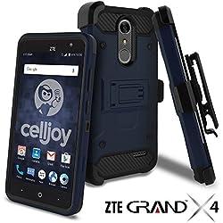 ZTE Grand X4 Case, ZTE Grand X 4 Case, Celljoy [Carbon Stealth Armor] Dual Layer Protective [[Shockproof]] Hybrid {Reinforced Bumper} Kickstand [Locking Swivel Belt Clip Holster Combo] (Blue)