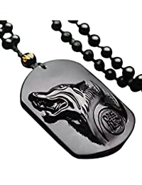 ICYANG Hand Carved Natural Genuine Obsidian Howling Wolf Head Pendant Beads Necklace for Men Women,Black
